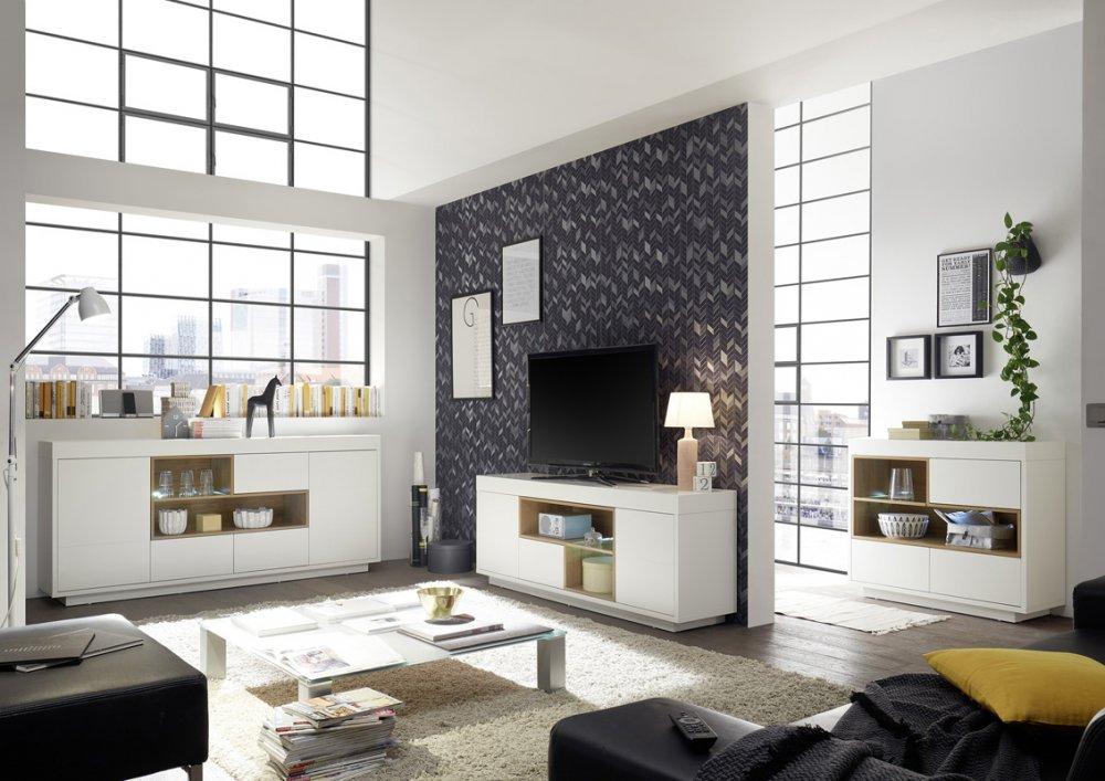 Buffet CLEO 193 cm blanc laqué mat  2 portes  3 tiroirs 2 niches décor chêne