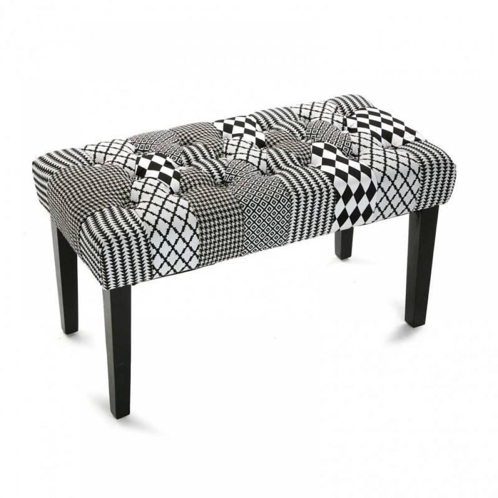 bancs tables et chaises banc valerie tissu pied de poule. Black Bedroom Furniture Sets. Home Design Ideas