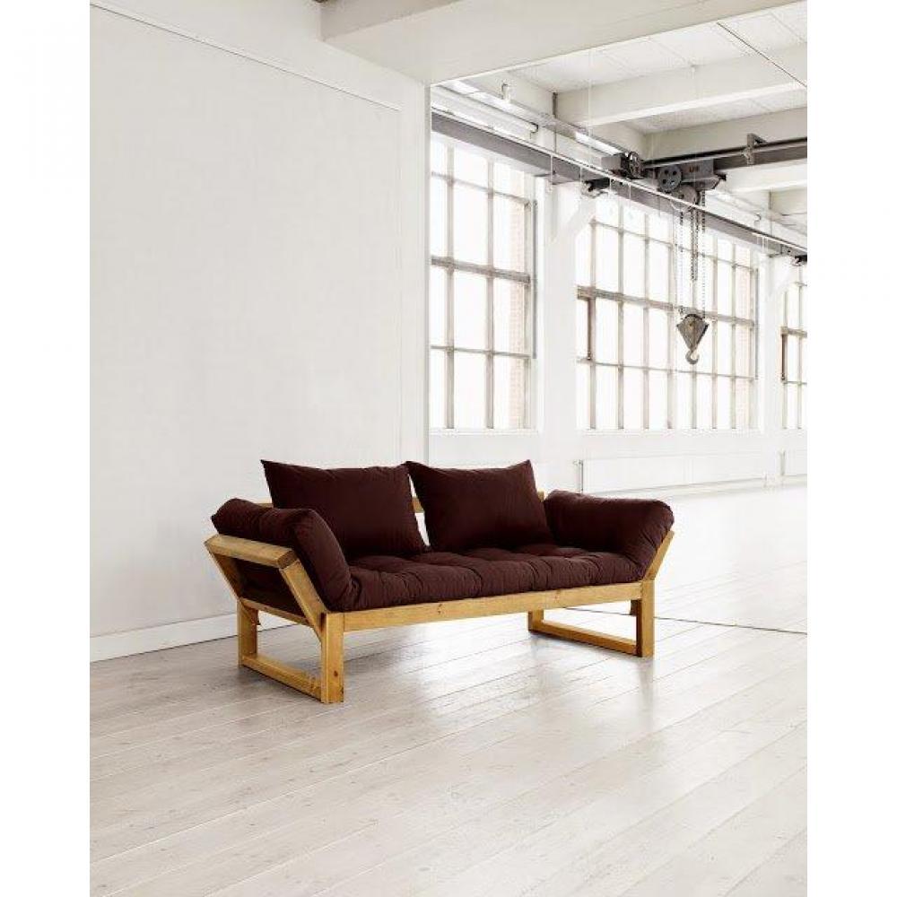 Banquette méridienne pin massif miel futon marron EDGE couchage 75*200cm