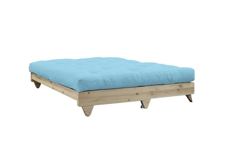 Banquette convertible futon FRESH pin coloris bleu clair couchage 140*200 cm.