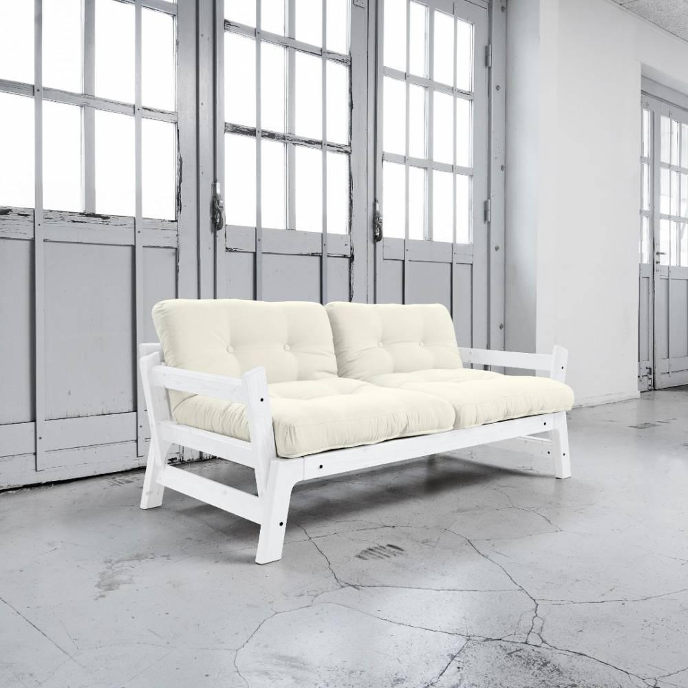 canap convertible au meilleur prix banquette convertible blanche step matelas futon blanc. Black Bedroom Furniture Sets. Home Design Ideas