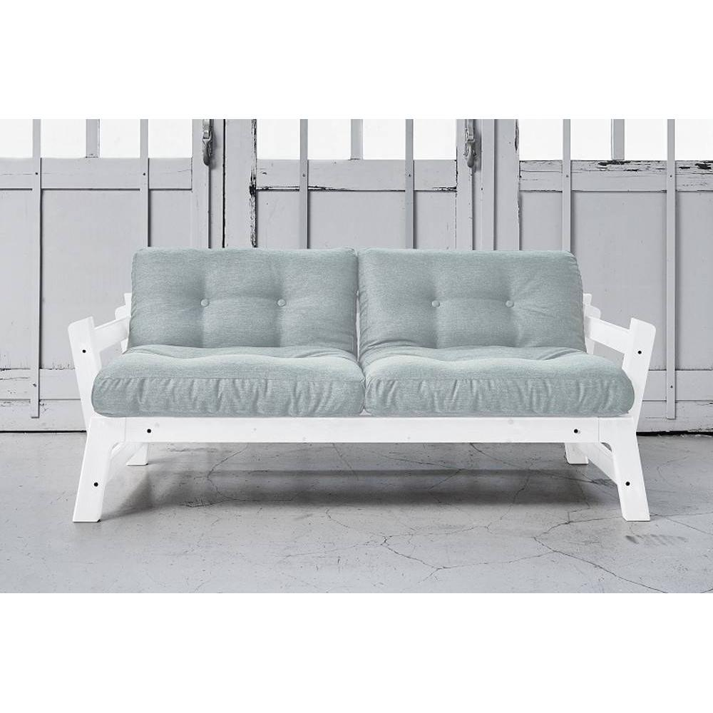 Banquette convertible blanche STEP matelas futon sky blue couchage 75*200cm
