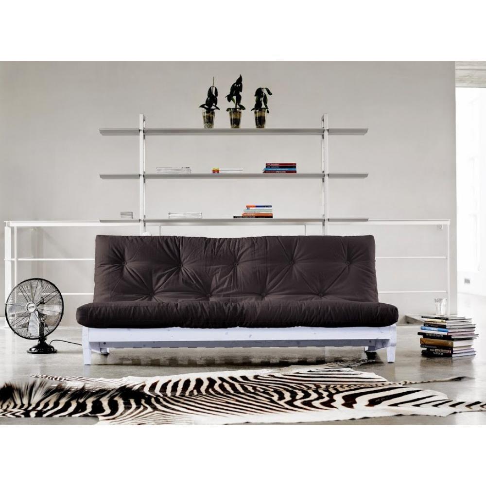 Banquette lit blanc futon FRESH grey graphite 3 places convertible couchage 140*200cm