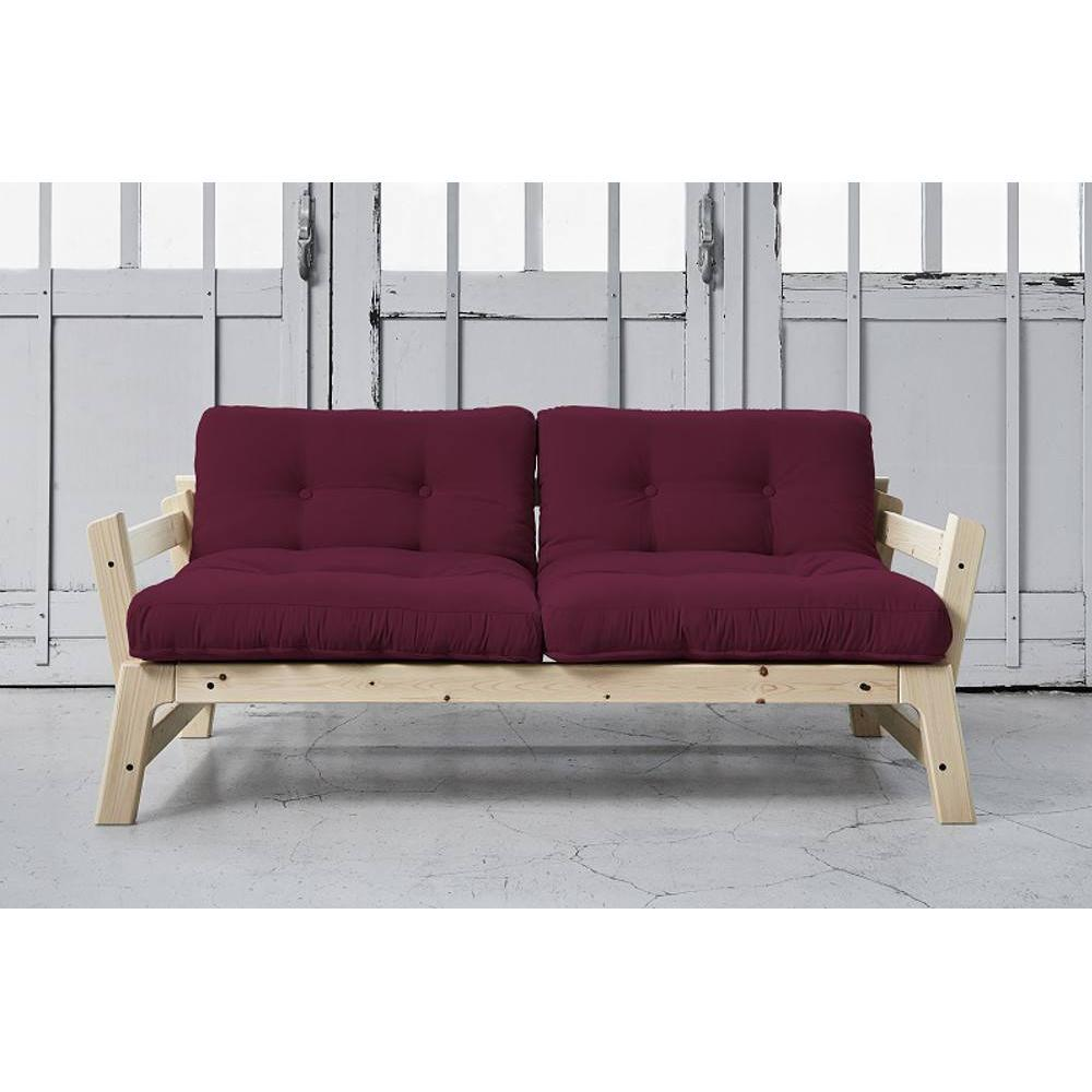 Banquette convertible ETAPE en pin massif matelas futon bordeaux couchage 75*200cm. Banquette convertible ETAPE en pin massif matelas futon bordeaux c