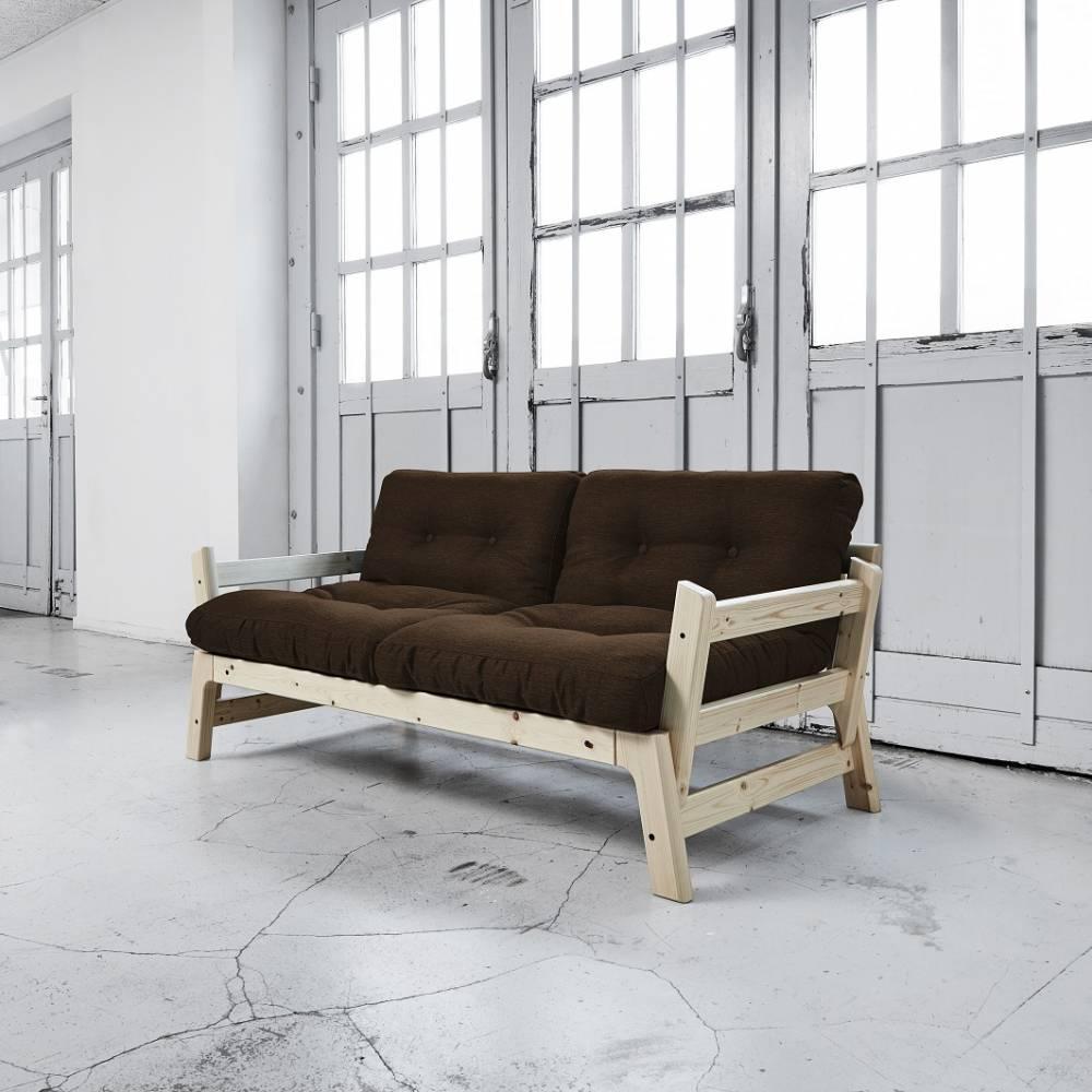 Banquette convertible STEP en pin massif matelas futon chocolat couchage 75*200cm