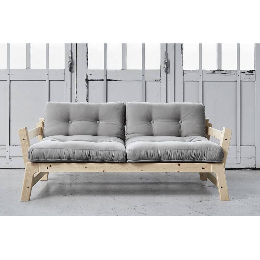 Banquette convertible ETAPE en pin massif matelas futon gris couchage 75*200cm. Banquette convertible ETAPE en pin massif matelas futon gris couchage