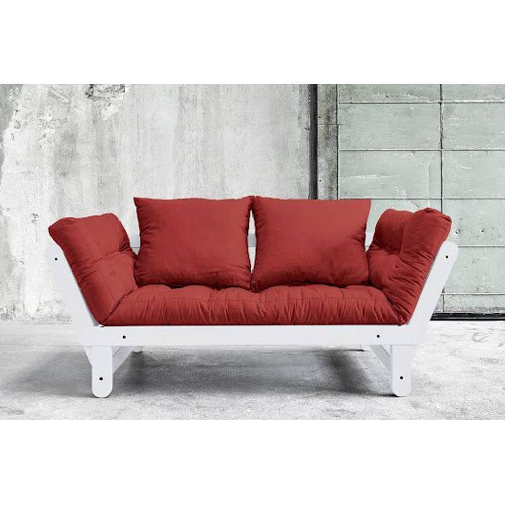 Banquette méridienne blanche convertible futon rouge passion BEAT couchage 75*200cm
