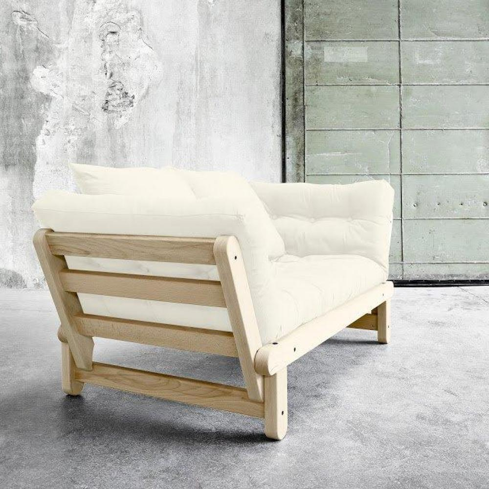 Banquette méridienne futon BALTIK pin naturel tissu écru couchage 75*200 cm.