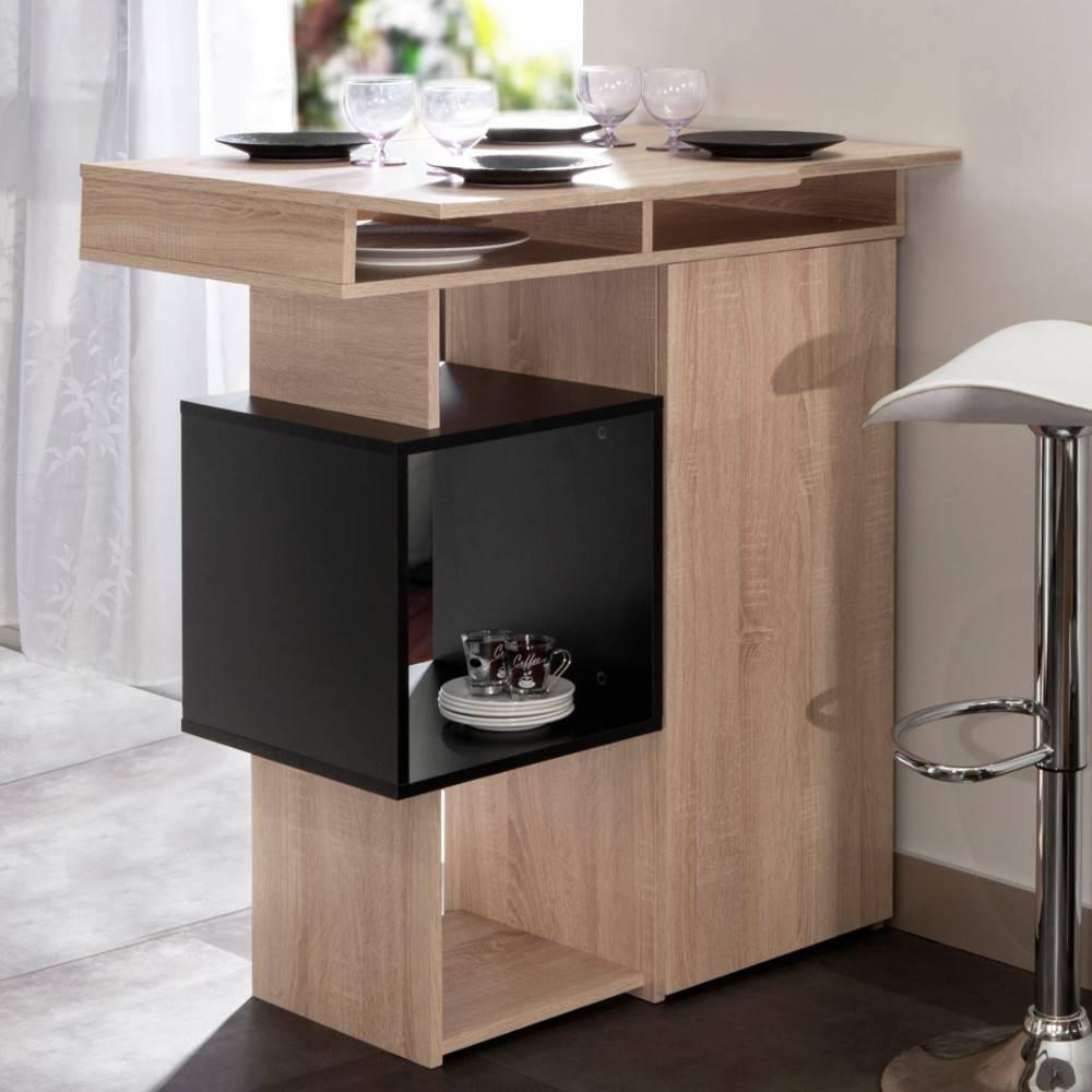 bars tables et chaises bar design scandinave dainn ch ne naturel et noir inside75. Black Bedroom Furniture Sets. Home Design Ideas