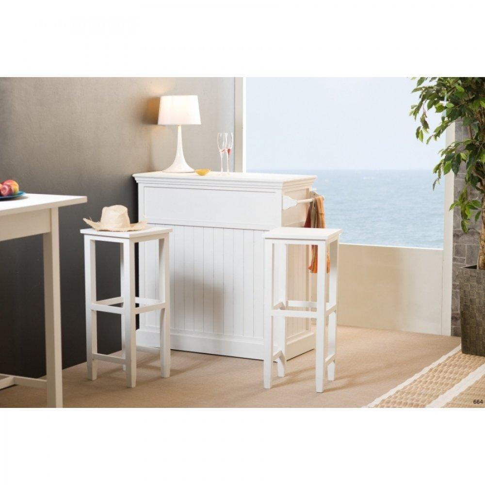 Bars tables et chaises bar eva en bois blanc style charme colonial inside75 for Chaise bar blanc bois