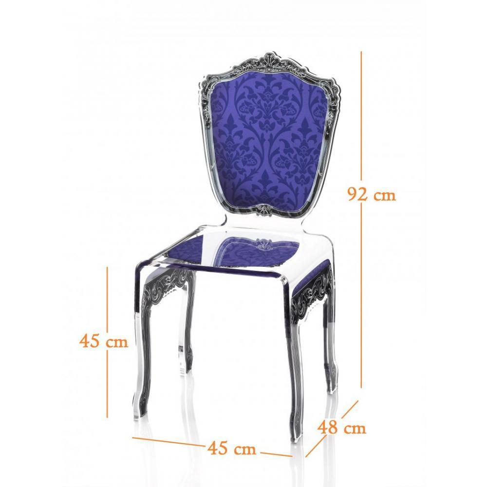 chaises meubles et rangements chaise baroque bleue acrila plexi design inside75. Black Bedroom Furniture Sets. Home Design Ideas