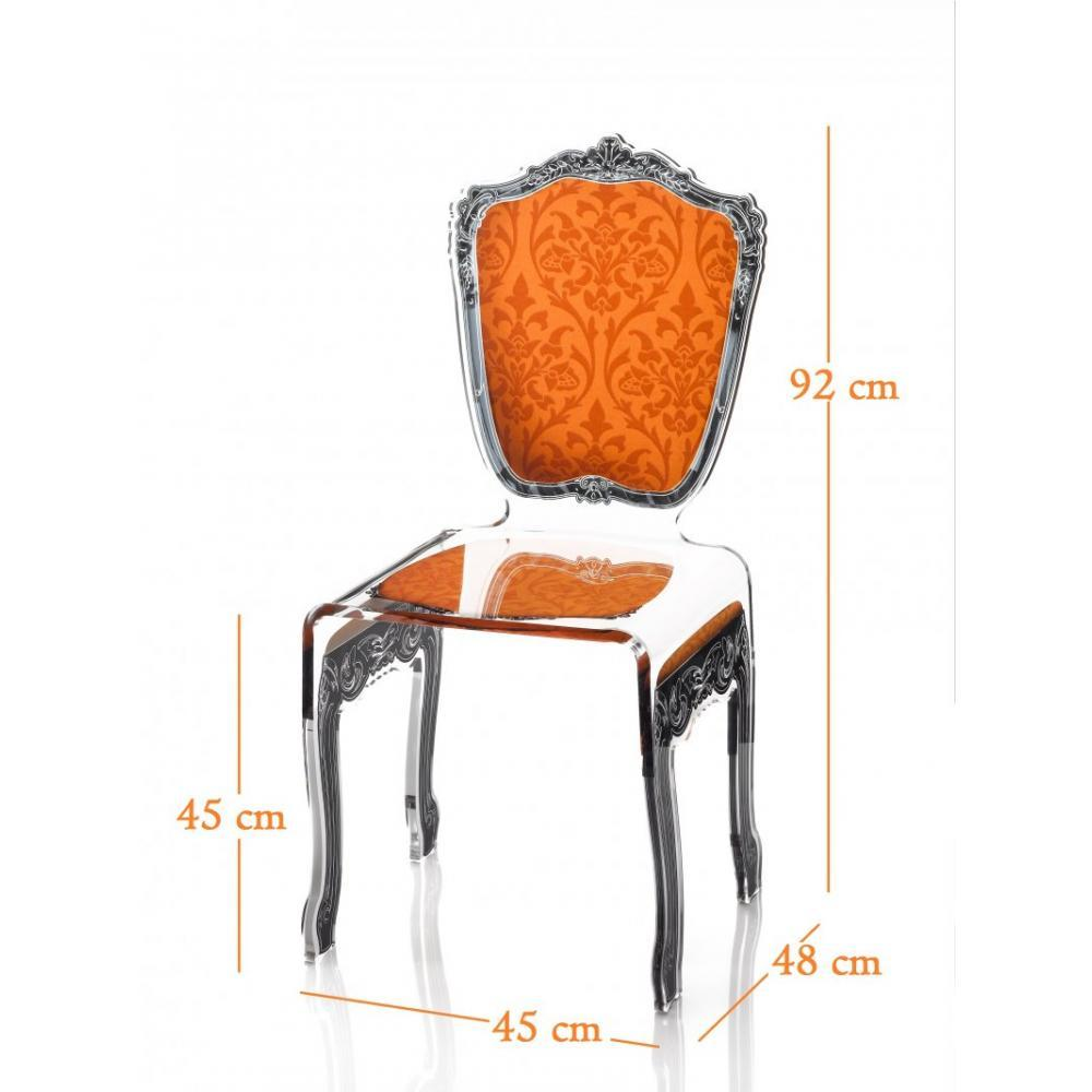 chaises meubles et rangements baroque chaise en plexi orange acrila design inside75. Black Bedroom Furniture Sets. Home Design Ideas