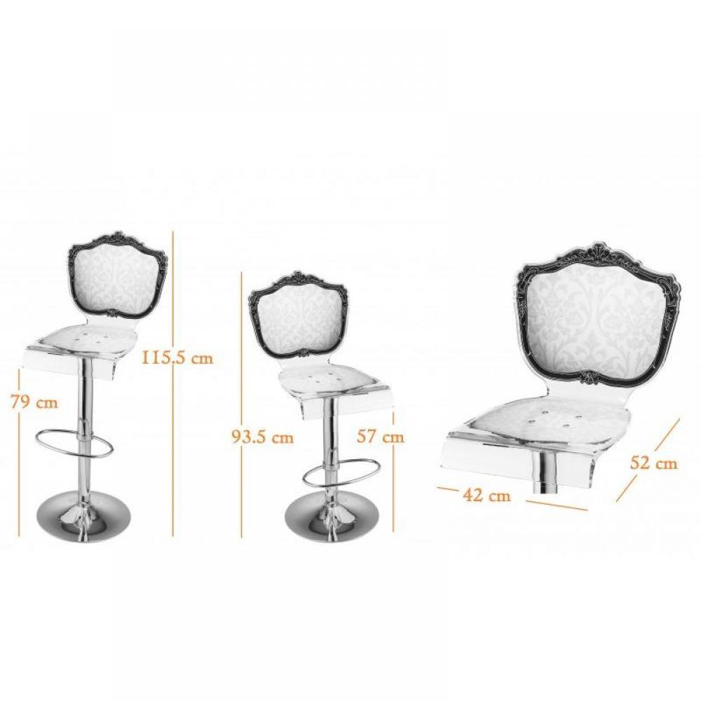 Tabourets de bar meubles et rangements tabouret chaise de bar baroque blanc - Tabouret baroque blanc ...
