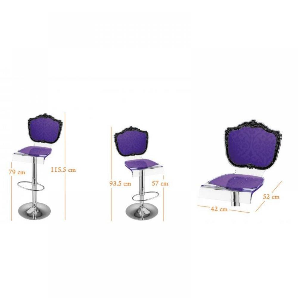 chaises meubles et rangements tabouret chaise de bar baroque violet plexiglass acrila inside75. Black Bedroom Furniture Sets. Home Design Ideas