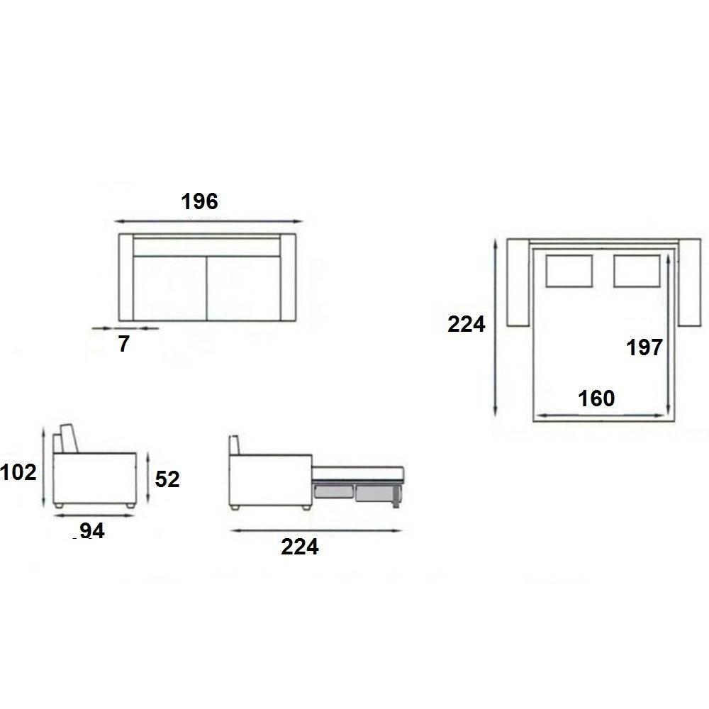 Canapé lit compact BASTILLE convertible EXPRESS 160 cm sommier lattes matelas 18cm