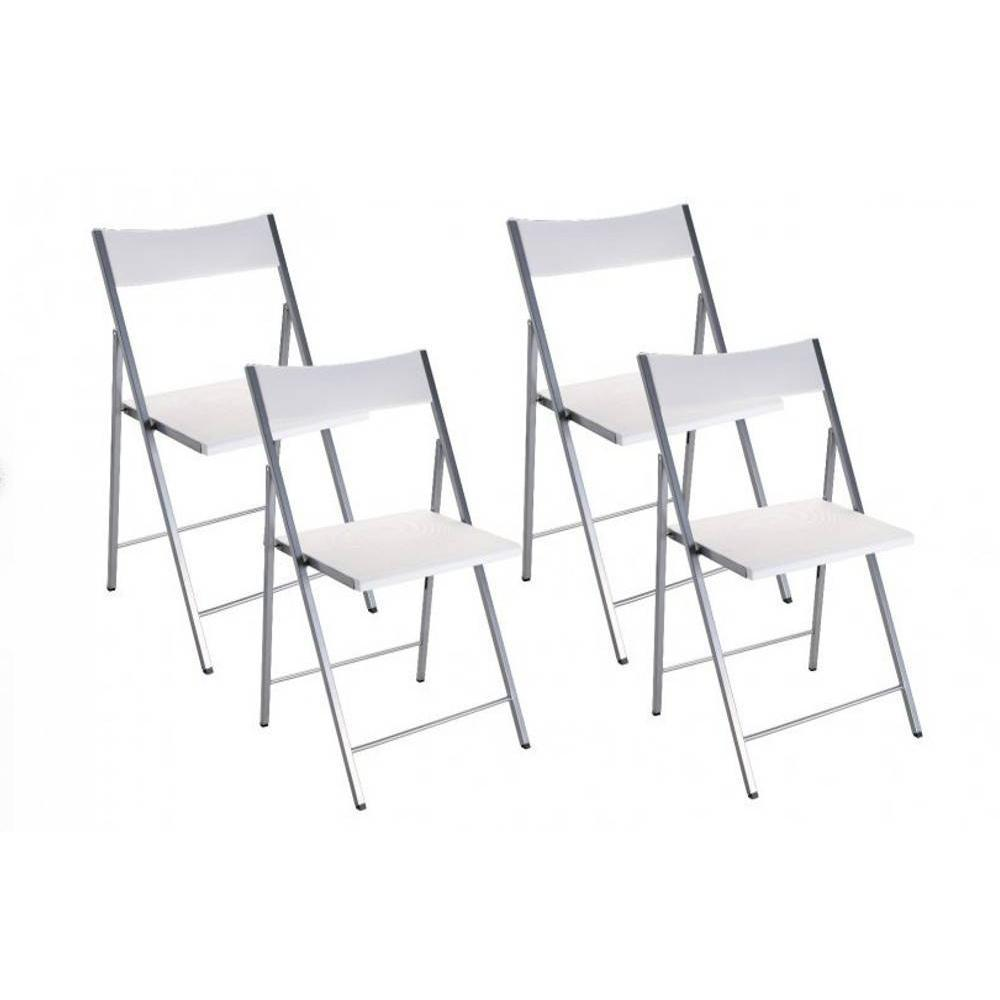 chaises pliantes design au meilleur prix belfort lot de 4 chaises pliantes blanc inside75. Black Bedroom Furniture Sets. Home Design Ideas