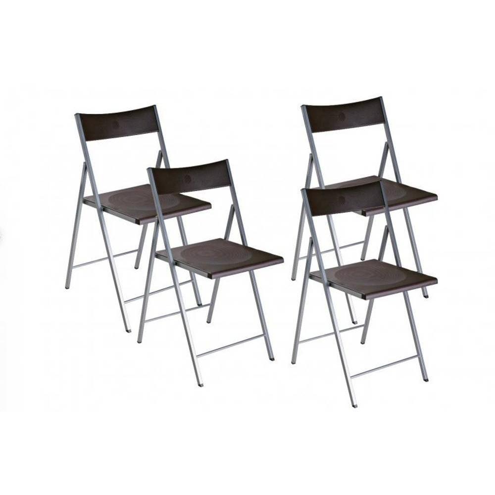 BELFORT Lot de 4 chaises pliantes marron