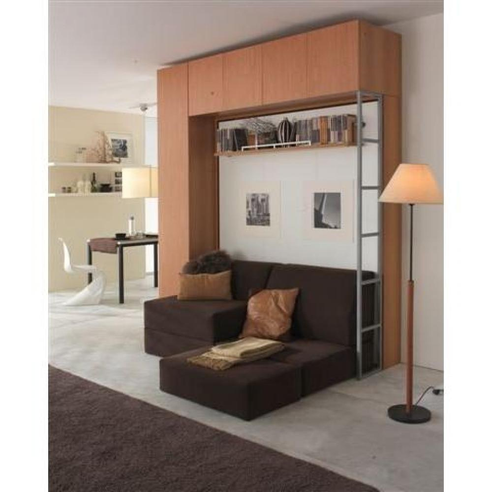 armoire lit escamotable avec canap int gr au meilleur prix armoire lit escamotable 2 pers. Black Bedroom Furniture Sets. Home Design Ideas