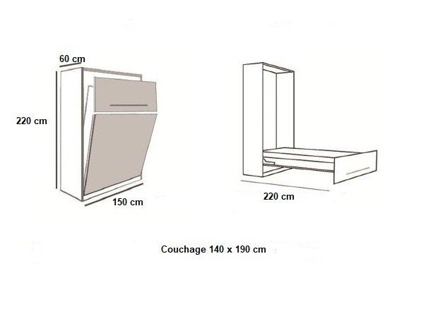 Armoire lit BERNE Couchage 140 x 190 cm profondeur 60 cm