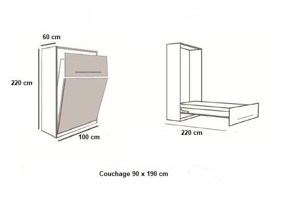 Armoire lit BERNE Couchage 90 x 190 cm profondeur 60 cm