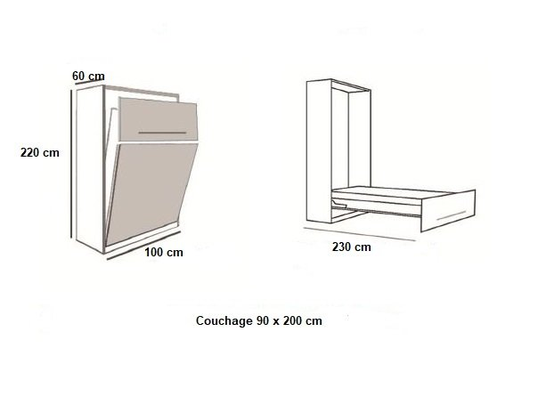 Armoire lit BERNE Couchage 90 x 200 cm profondeur 60 cm