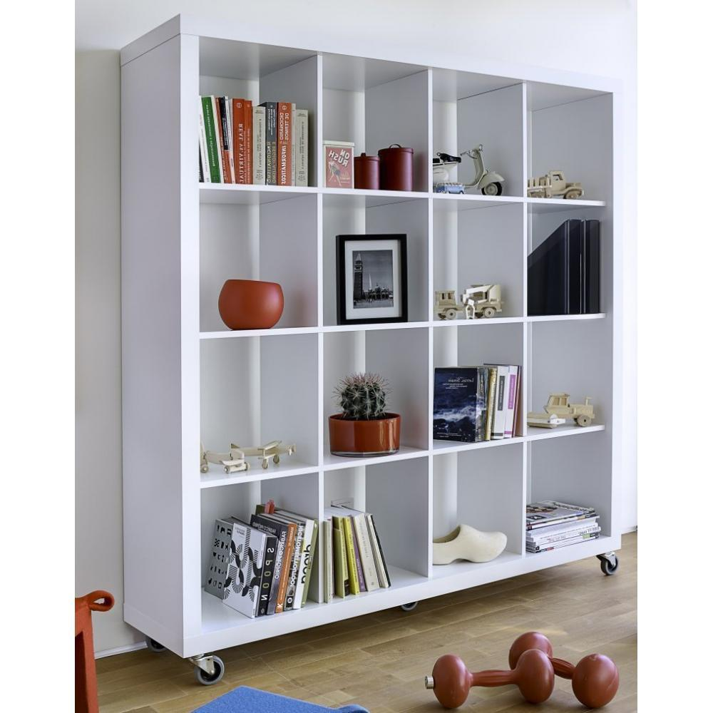 Bibliotheques Etageres Meubles Et Rangements Bibliotheque Design Rolly Blanche Mate 4 X 4 Cases Inside75