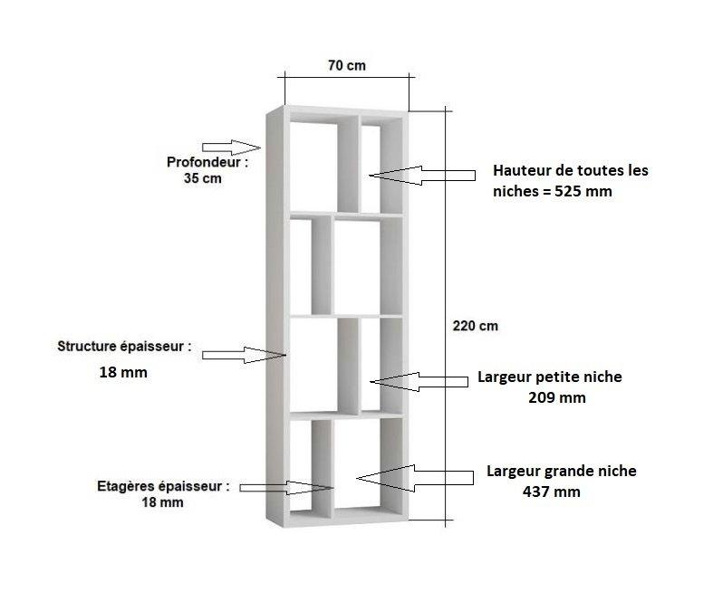Bibliothèque design RUBY gris béton largeur : 70  cm