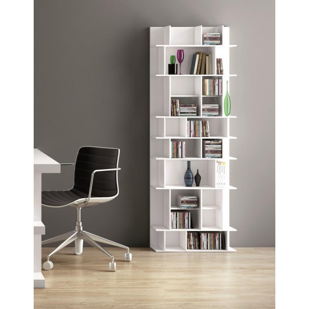 biblioth ques tag res meubles et rangements biblioth que murale design panorama high blanche. Black Bedroom Furniture Sets. Home Design Ideas