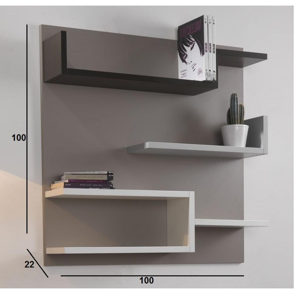 etag res murales meubles et rangements biblioth que murale design myshelf fond gris taupe. Black Bedroom Furniture Sets. Home Design Ideas