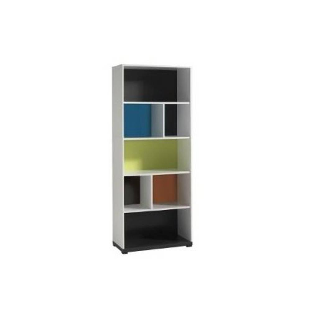 biblioth ques tag res meubles et rangements biblioth que nixon blanche 7 niches multicolore. Black Bedroom Furniture Sets. Home Design Ideas