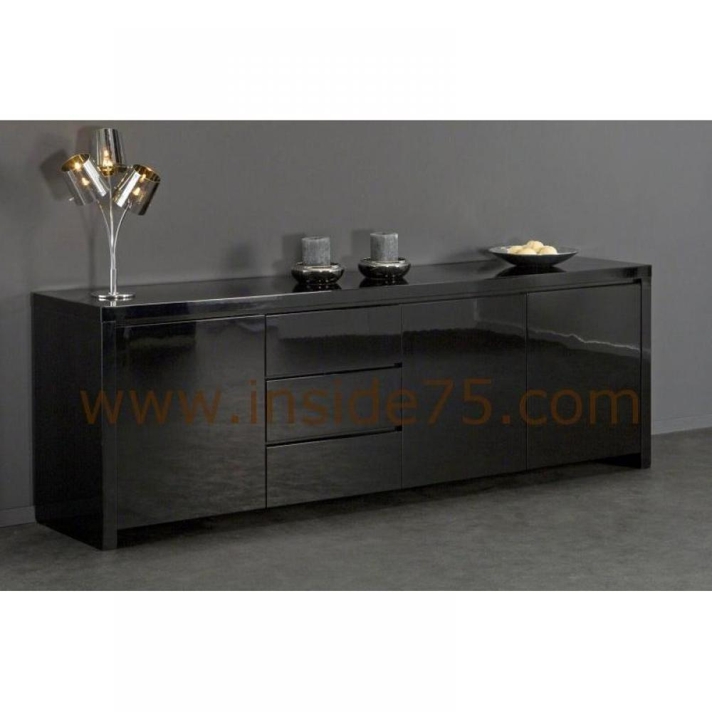 buffets meubles et rangements black buffet design laqu noir 3 portes 3 tiroirs inside75. Black Bedroom Furniture Sets. Home Design Ideas