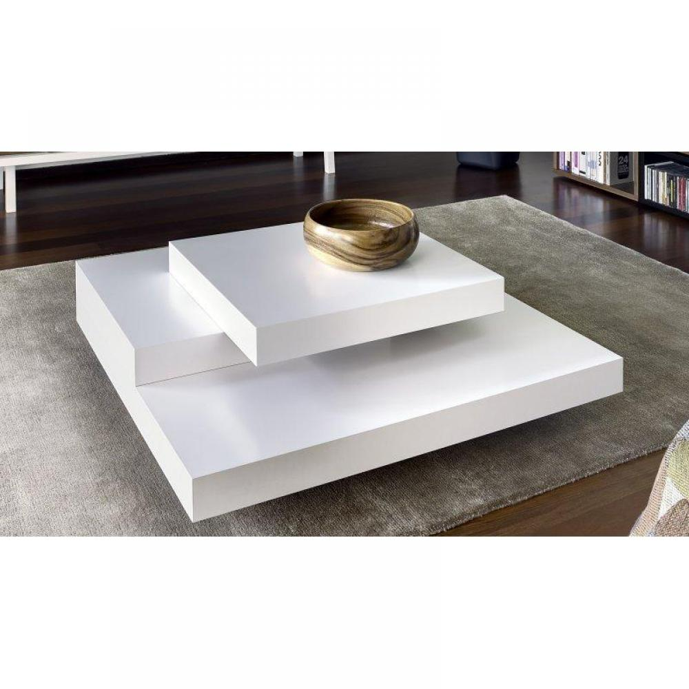 Wonderful Table Basse Blanc Laque Design #13: TemaHome SLATE Table Basse Design Blanc Mate