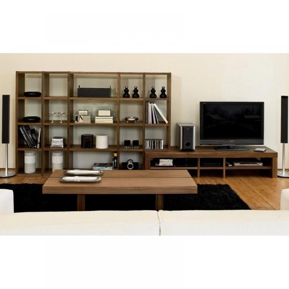 biblioth ques tag res meubles et rangements bombay meuble tv et biblioth que noyer inside75. Black Bedroom Furniture Sets. Home Design Ideas