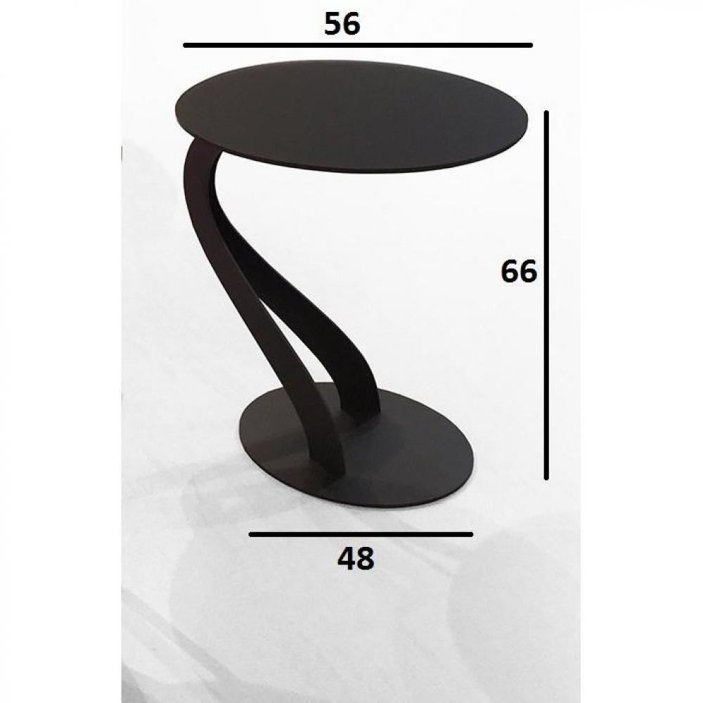 Bout de canapé TOM design chocolat ovale en verre trempé