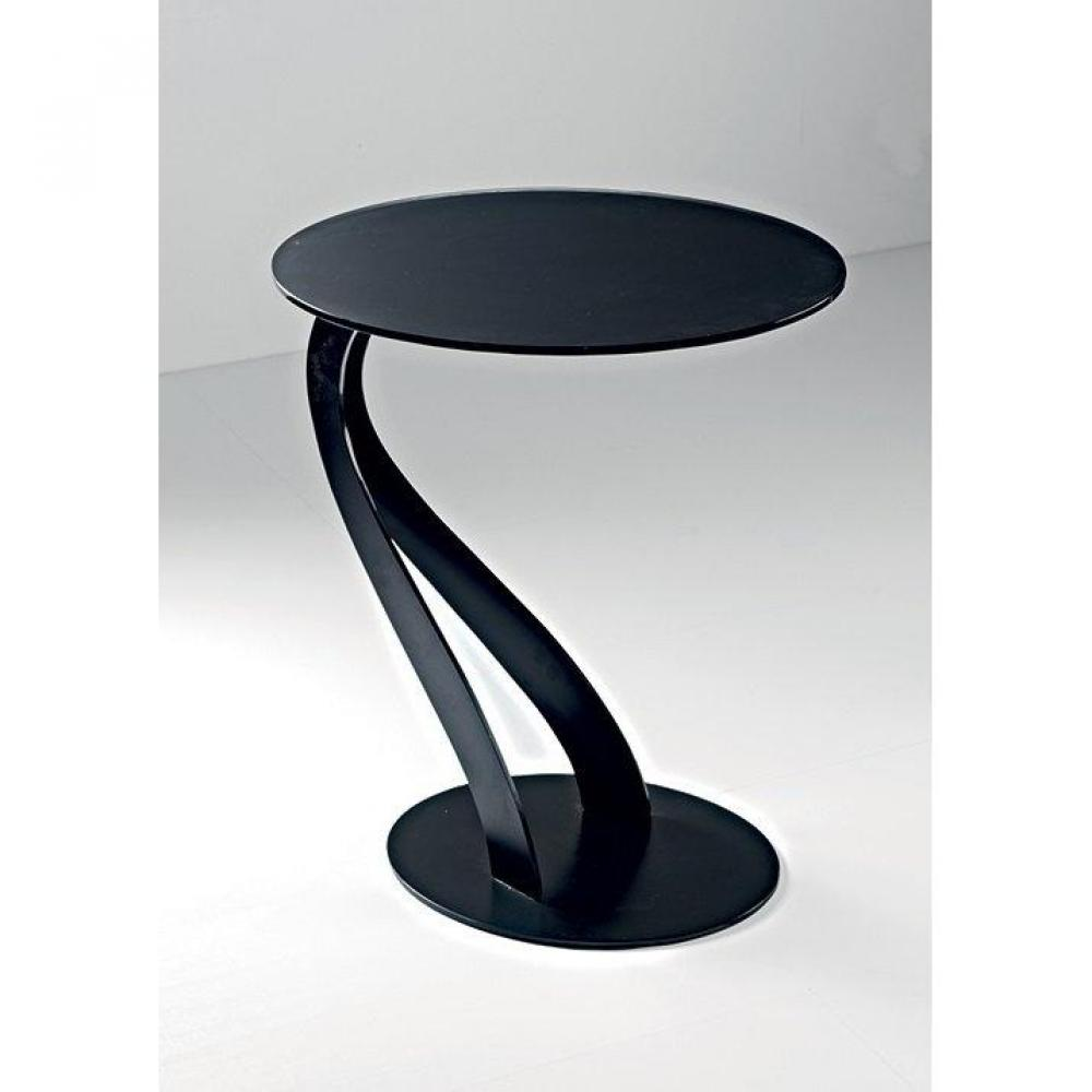 bouts de canapes tables et chaises bout de canap tom design noir ovale en verre tremp inside75. Black Bedroom Furniture Sets. Home Design Ideas