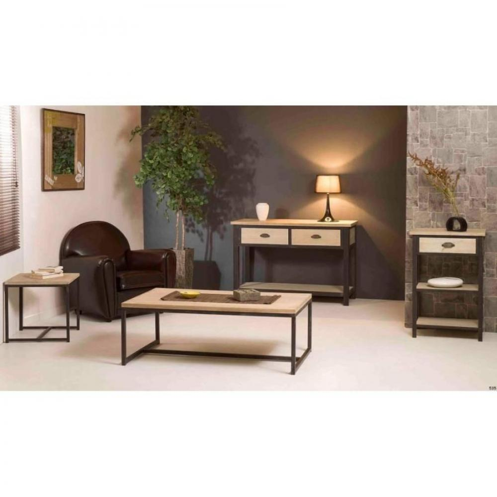 bouts de canapes tables et chaises bout de canap industriel lea en bois de paulownia et en. Black Bedroom Furniture Sets. Home Design Ideas