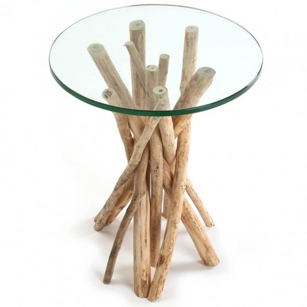 Bouts de canapes tables et chaises bout de canape novante en teck flotte plateau verre inside75 - Chaise bois flotte ...