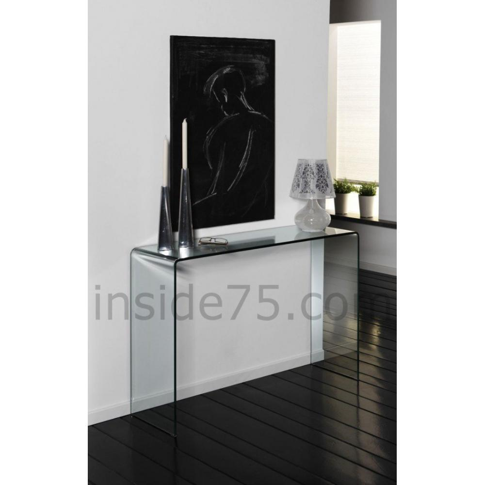 consoles meubles et rangements bridge console fixe en verre tremp design inside75. Black Bedroom Furniture Sets. Home Design Ideas