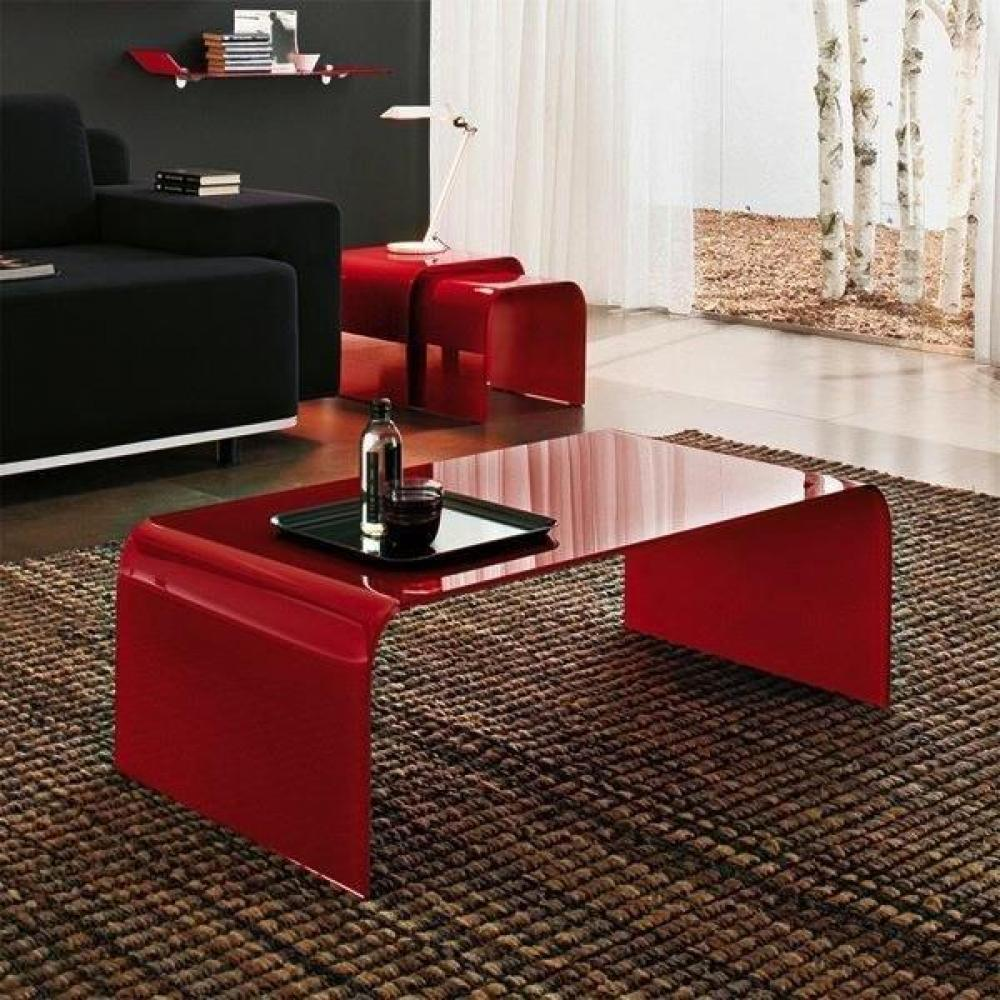 table basse carr e ronde ou rectangulaire au meilleur prix table basse bridge en verre rouge. Black Bedroom Furniture Sets. Home Design Ideas