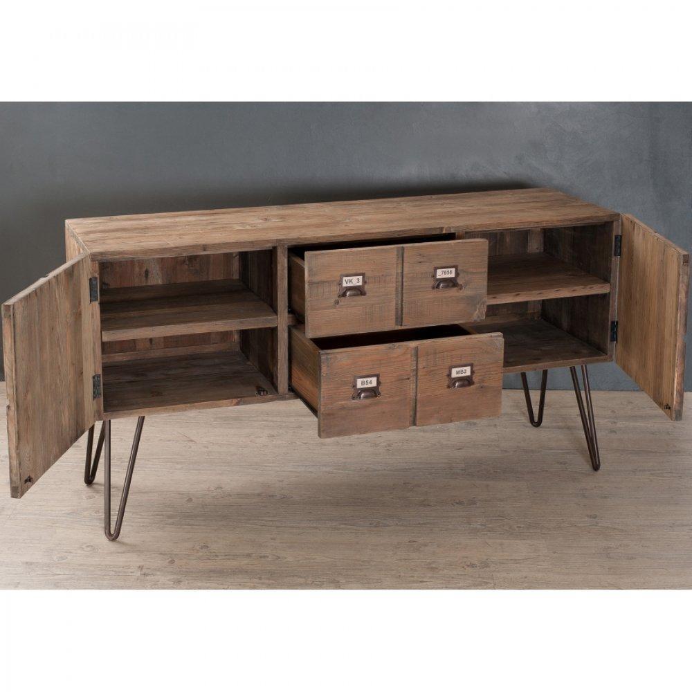 Buffets bas meubles et rangements buffet octave 2 portes 2 tiroirs en pin s - Buffet bas style industriel ...