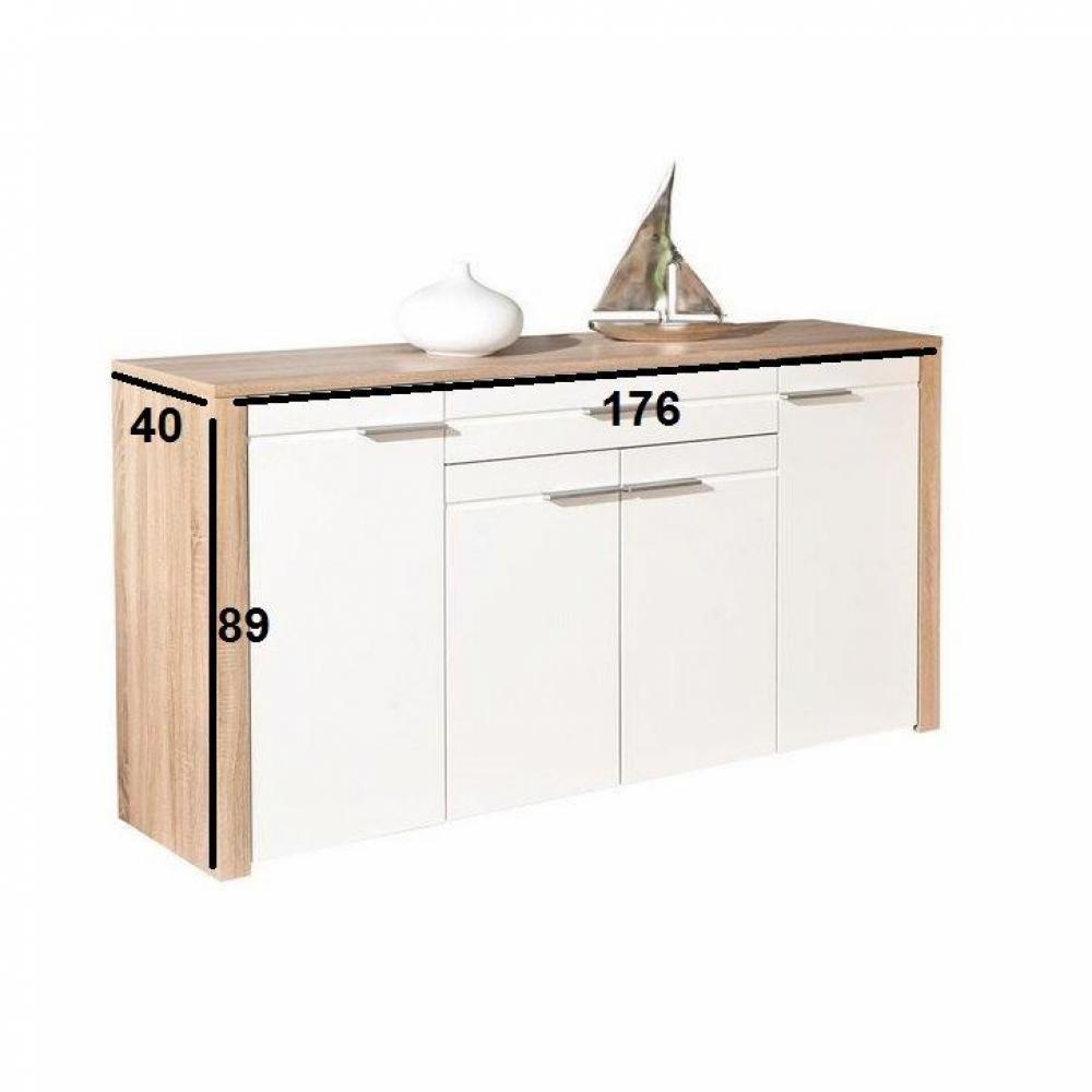 buffets meubles et rangements buffet absoluto ch ne blanc de sonoma et blanc 4 portes 1 tiroir. Black Bedroom Furniture Sets. Home Design Ideas