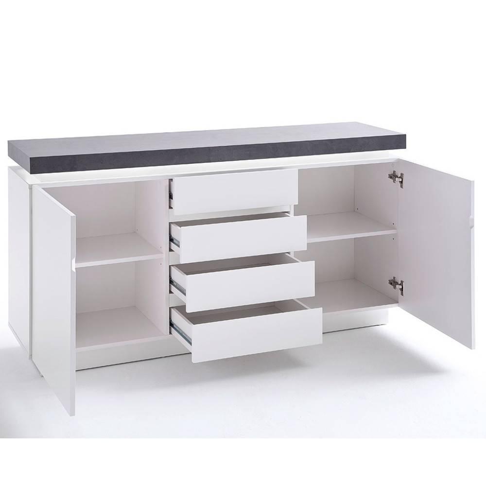 buffets meubles et rangements buffet atlantis laqu blanc mat et b ton 2 portes 4 tiroirs led. Black Bedroom Furniture Sets. Home Design Ideas
