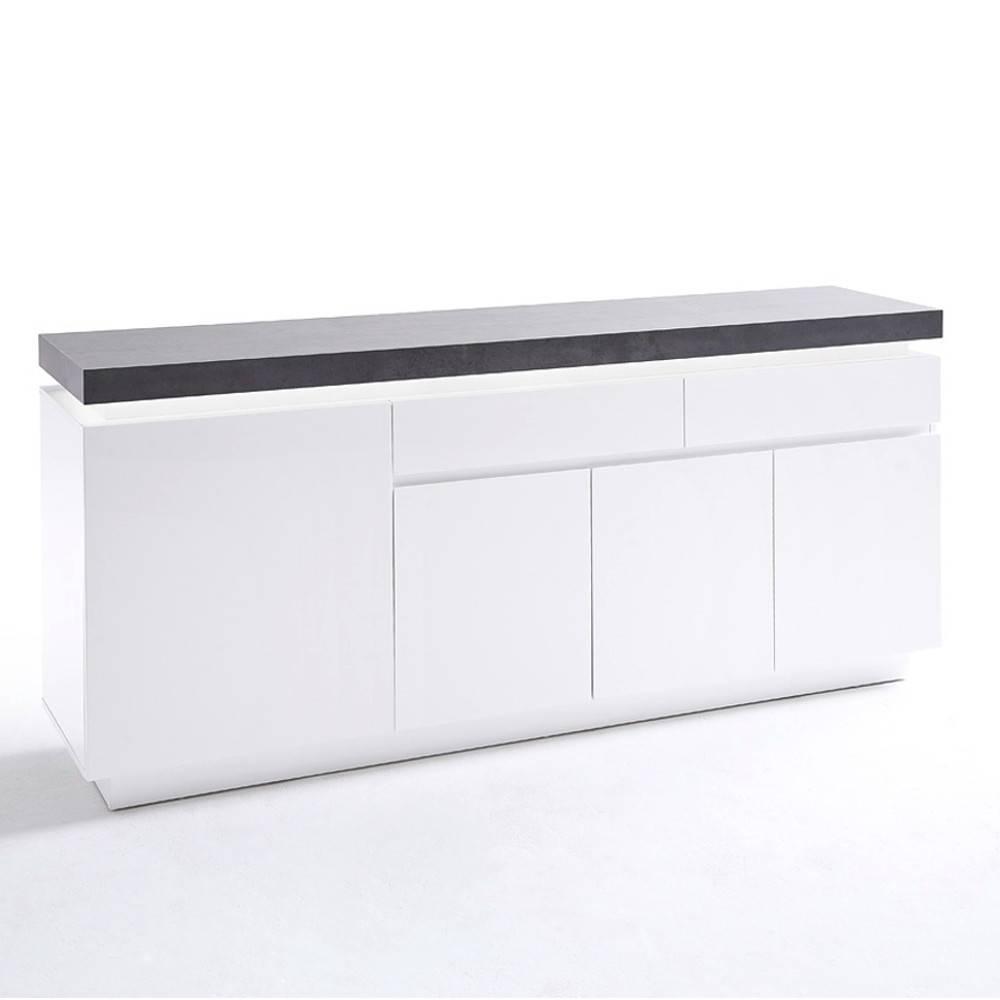 buffets meubles et rangements buffet atlantis laqu blanc mat et b ton 4 portes 2 tiroirs led. Black Bedroom Furniture Sets. Home Design Ideas