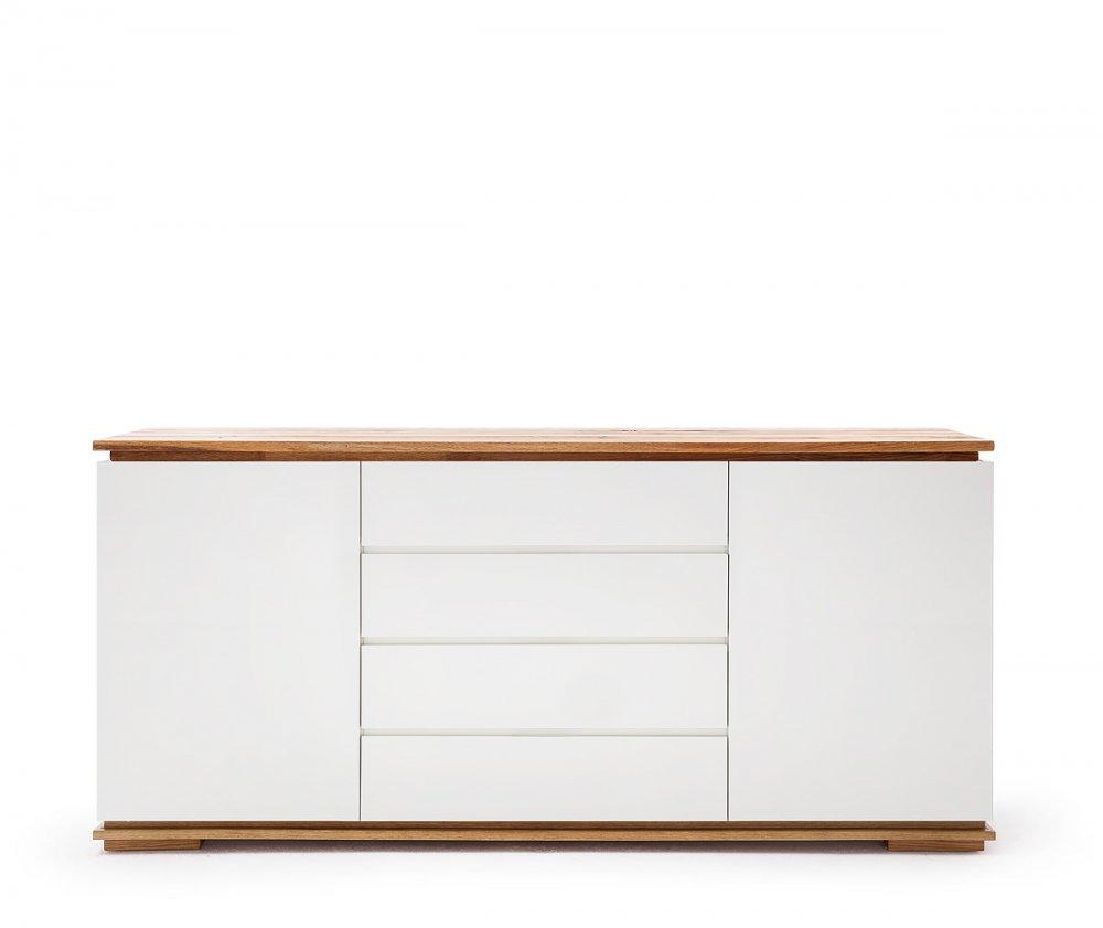 Buffet CHARLY 2 portes 4 tiroirs laqué blanc mat plateau et socle chêne noueux huilé