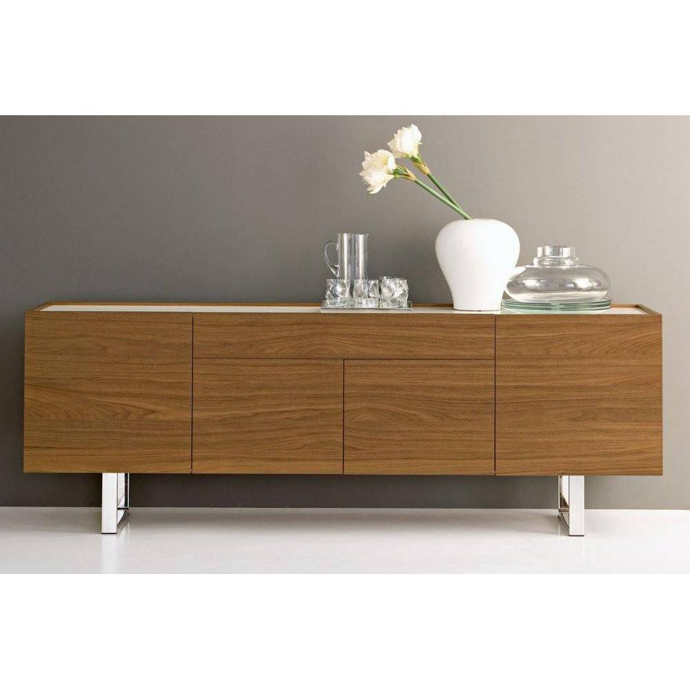 buffets meubles et rangements calligaris buffet bas design horizon noyer plateau verre extra. Black Bedroom Furniture Sets. Home Design Ideas