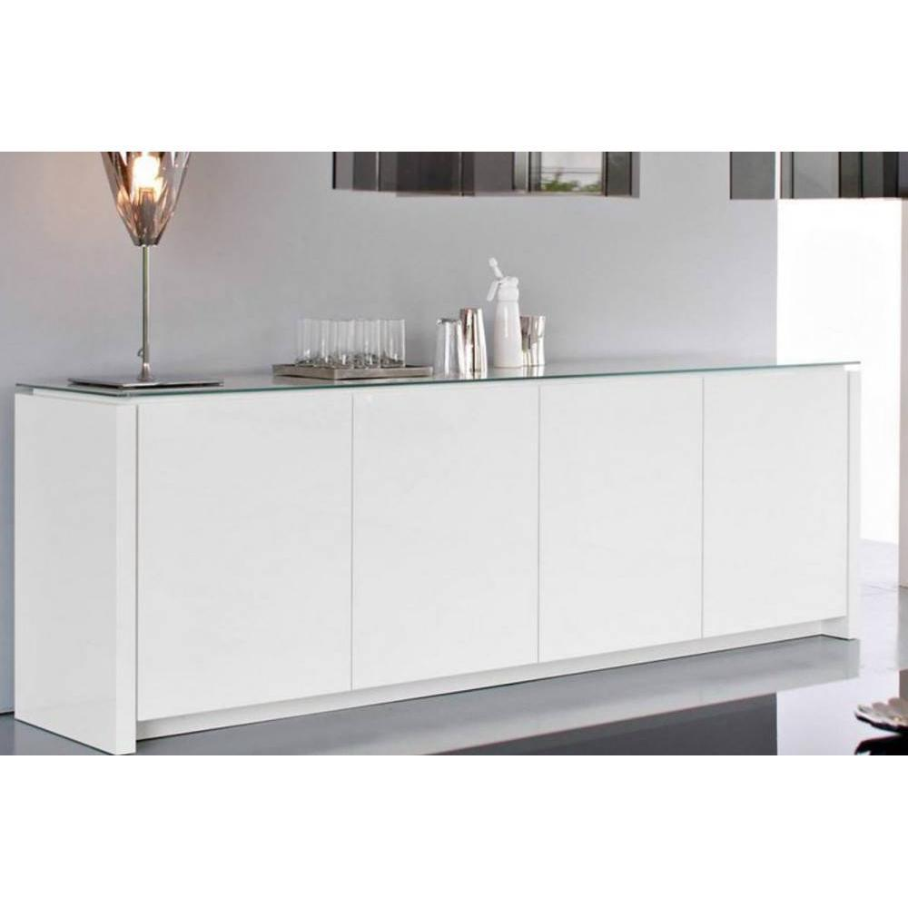 buffets meubles et rangements calligaris buffet bas mag blanc brillant avec plateau en verre. Black Bedroom Furniture Sets. Home Design Ideas