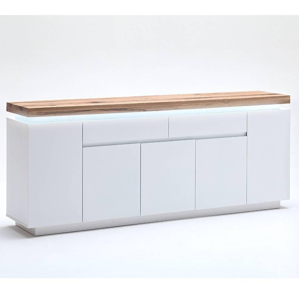 buffets meubles et rangements buffet romina 5 portes 2 tiroirs laqu blanc mat plateau ch ne. Black Bedroom Furniture Sets. Home Design Ideas