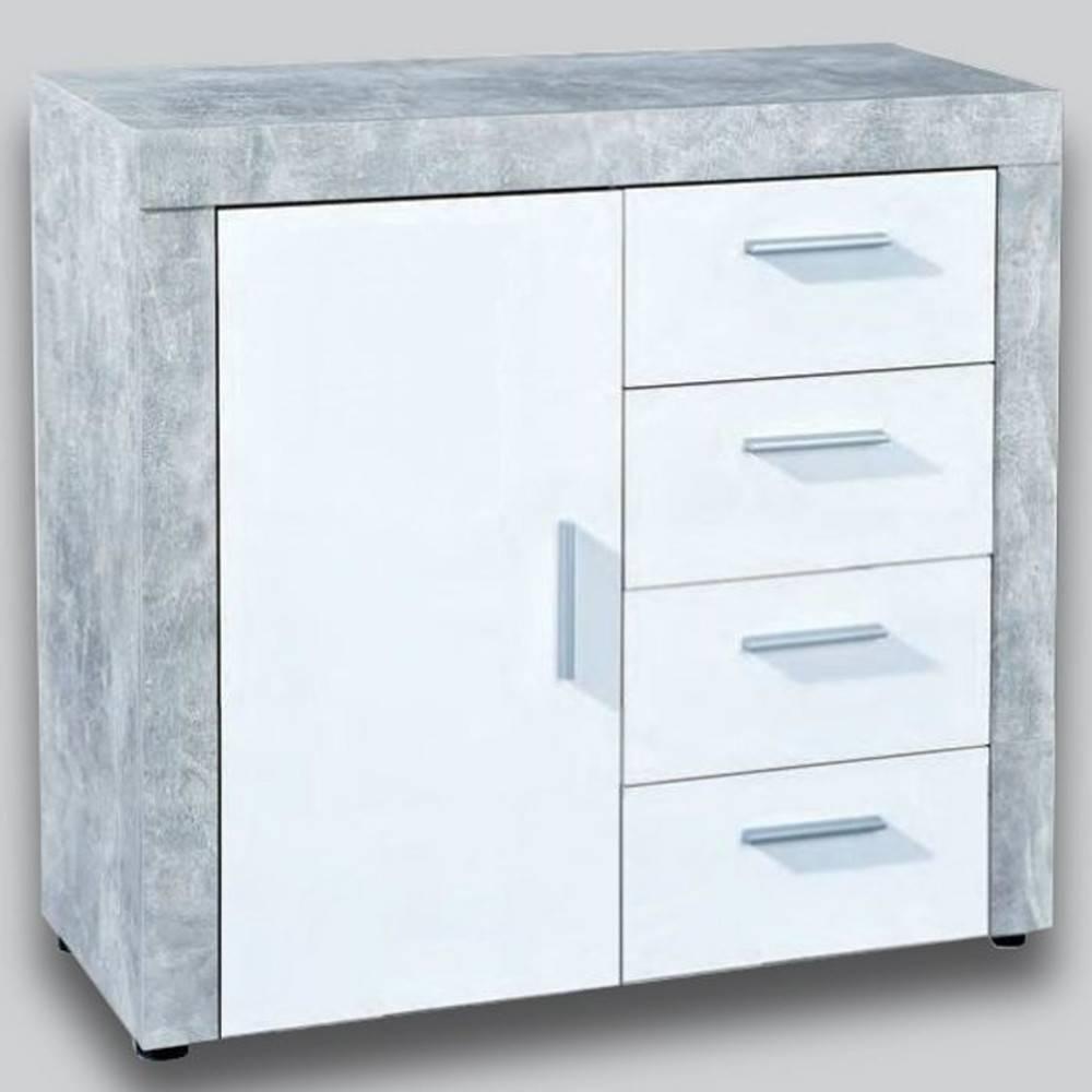 Buffet 1 portes et 4 tiroirs aspect béton et blanc