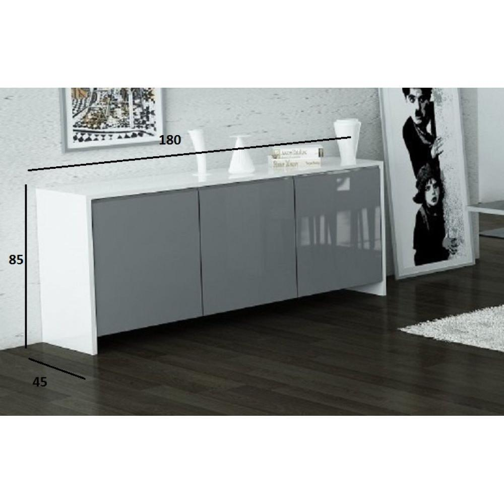 buffets meubles et rangements buffet bali blanc avec 3 portes grises inside75. Black Bedroom Furniture Sets. Home Design Ideas