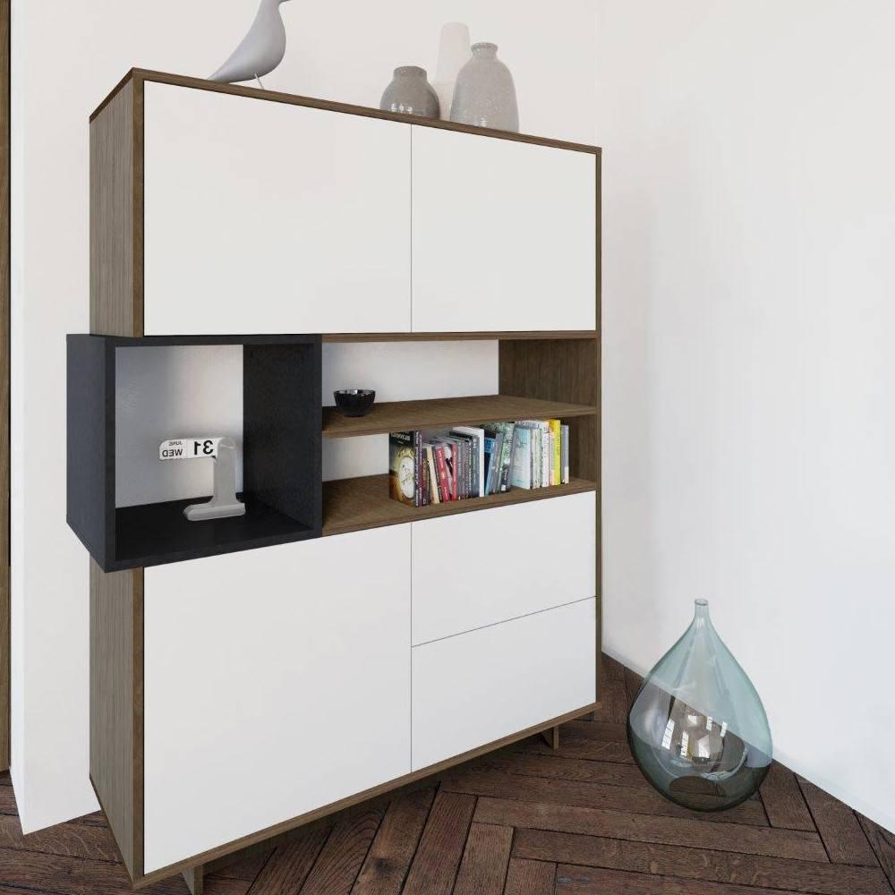 buffets meubles et rangements buffet design scandinave dainn 3 portes 2 tiroirs noyer et blanc. Black Bedroom Furniture Sets. Home Design Ideas